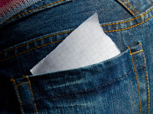 Paper in the jeans pocket Stock Photos