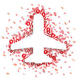 Paper Jet Emblem Red Percents. Paper jet with red percents on the white Stock Image