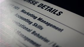 Paper with Key skills in business, management and marketing. White Paper with Key skills in business, management and marketing stock photography