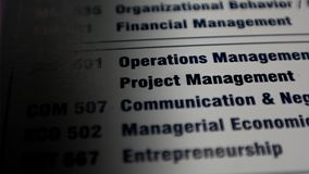 Paper with Key skills in business. Project management, communication and operations stock images