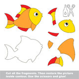 Paper kid game. Easy application for kids with Gold Fish. Use scissors and glue and restore the picture inside the contour. Paper game for kids. Simple kid Royalty Free Stock Images