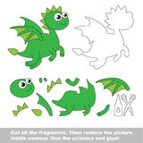 Paper kid game. Easy application for kids with Green Dragon Stock Image