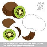 Paper kid game. Easy application for kids with Kiwifruit. Use scissors and glue and restore the picture inside the contour. Easy educational paper game for kids Stock Image