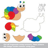 Paper kid game. Easy application for kids with Snail. Use scissors and glue and restore the picture inside the contour. Easy educational paper game for kids Royalty Free Stock Images