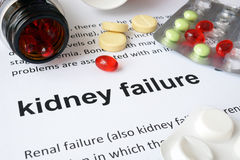 Paper with kidney failure and pills. Medical concept royalty free stock photos