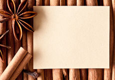 Paper on the kitchen spices. Royalty Free Stock Images