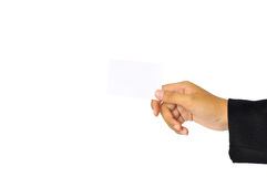 Paper kort i kvinnahand arkivbild