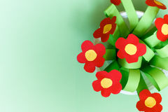 Paper kreativity flowers. Children gift for mother day. Royalty Free Stock Images
