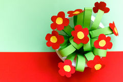 Paper kreativity flowers. Children gift for mother day. Stock Photo