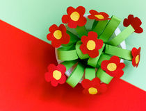 Paper kreativity flowers. Children gift for mother day. Royalty Free Stock Photos