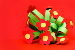 Paper kreativity flowers. Children gift for mother day. Royalty Free Stock Image