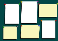 Paper label. Many stationery label in the green blackboard Royalty Free Stock Photos