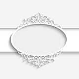 Paper label. Paper frame with shadow, ornamental lacy label on white background Stock Image
