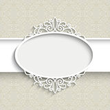 Paper label. Paper frame with shadow, scrapbook decoration, white lacy label on ornamental background Stock Photos