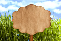 Paper label on nature background Stock Photography