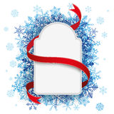 Paper Label Red Flag Blue Snowflakes Royalty Free Stock Photography