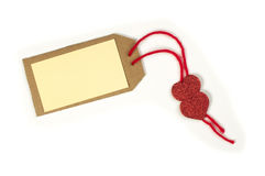 Paper label with rope and red hearts Stock Image