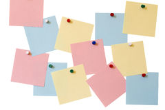 Paper labels, colored buttons Stock Photo