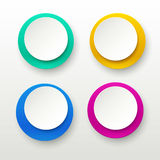 Paper labels 01. Illustration of set colored circle papers two colored with shadows on bright background Royalty Free Stock Images