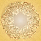 Paper lace on beige background. Abstract pattern looks as paper cut lace flower on old paper background Stock Photos