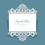 Paper lace card. Cutout paper lace frame, greeting card, save the date or wedding invitation template Royalty Free Stock Photography