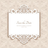 Paper lace card. Cutout paper lace frame, greeting card, save the date or wedding invitation template Royalty Free Stock Photo