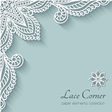 Paper lace corner. Paper background with lace corner ornament Stock Photography