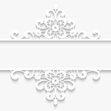 Paper lace divider frame. Abstract paper lace background, lacy divider, ornamental frame on white Royalty Free Stock Images