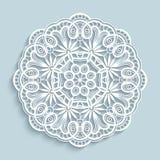 Paper lace doily, cutout round pattern. Round cutout paper ornament, lace doily, decorative snowflake, mandala, circle crochet pattern royalty free illustration