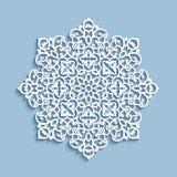 Paper lace doily, cutout round pattern. Cutout paper lace doily, snowflake decoration, mandala circle ornament, lacy round pattern royalty free illustration