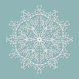 Paper lace doily, decorative snowflake, round Stock Photo
