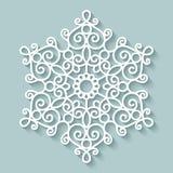Paper lace doily. Round crochet ornament stock illustration