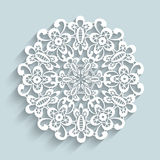 Paper lace doily. Round crochet ornament vector illustration