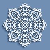 Paper lace doily, round crochet ornament. Paper lace doily, decorative snowflake, mandala, round crochet ornament vector illustration
