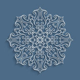 Paper lace doily, round crochet pattern Stock Image