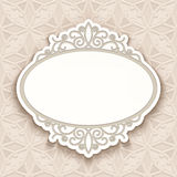 Paper lace label template. Cutout paper frame with ornamental border, label, greeting card or wedding invitation template royalty free illustration