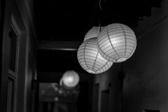 Paper lamp. Black and white photo Stock Photo