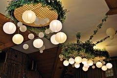 Paper  lamp in restaurant. Stock Photos
