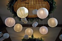 Paper  lamp in restaurant. Royalty Free Stock Images