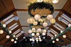 Paper  lamp in restaurant. Stock Images