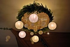 Paper  lamp in restaurant. Royalty Free Stock Image