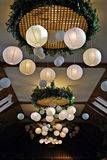 Paper  lamp in restaurant. Royalty Free Stock Photos