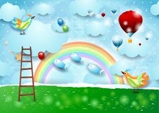 Paper landscape with balloons, birds, stairway and flying fishes. Vector illustration eps10 stock illustration