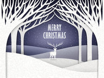 Paper landscape of Christmas night with moose Royalty Free Stock Photography