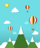 Paper landscape with hot air balloons Royalty Free Stock Images