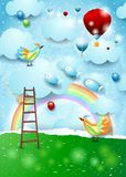 Paper landscape with stairway, balloons, birds and flying fishes. Vector illustration eps10 royalty free illustration