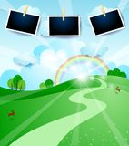 Paper landscape with sunrise and photo frames. Vector illustration eps10 stock illustration