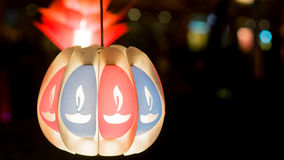 Paper lantern with indian Diyas painted Royalty Free Stock Photography