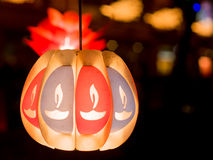 Paper lantern with indian Diyas painted Stock Photography