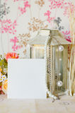 Paper with lantern and pearl. Blank paper with lantern and pearl Stock Photo